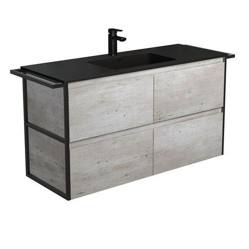Montana 1200 Solid Surface Moulded Basin-Top + Amato Industrial Cabinet Wall-Hung with Twin Towel Rails 4 Drawer 1 Tap Hole [191718]