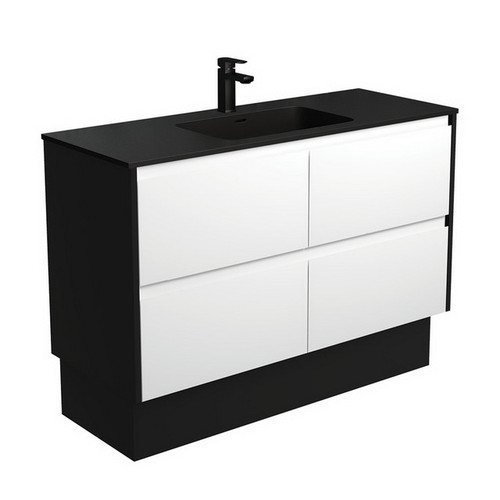 Montana 1200 Solid Surface Moulded Basin-Top + Amato Satin White Cabinet on Kick Board with Satin Black Solid Side Panels 4 Drawer 1 Tap Hole [191719]