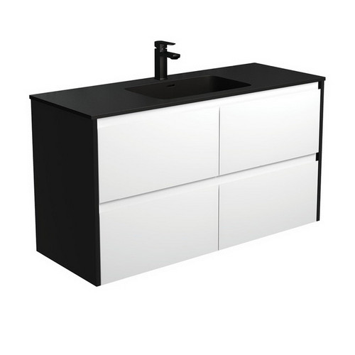 Montana 1200 Solid Surface Moulded Basin-Top + Amato Satin White Cabinet Wall-Hung with Satin Black Solid Side Panels 4 Drawer 1 Tap Hole [191720]