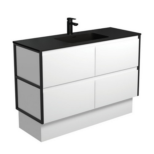 Montana 1200 Solid Surface Moulded Basin-Top + Amato Satin White Cabinet on Kick Board with Matte Black Frames 4 Drawer 1 Tap Hole [191721]