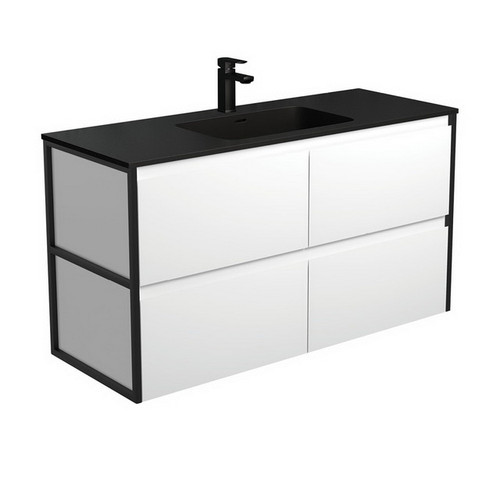 Montana 1200 Solid Surface Moulded Basin-Top + Amato Satin White Cabinet Wall-Hung with Matte Black Frames 4 Drawer 1 Tap Hole [191722]