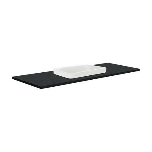 Sarah Black Sparkle 1200 Semi-inset Basin-Top + Fingerpull Satin Black Cabinet Wall-Hung 3 Tap Hole [196931]