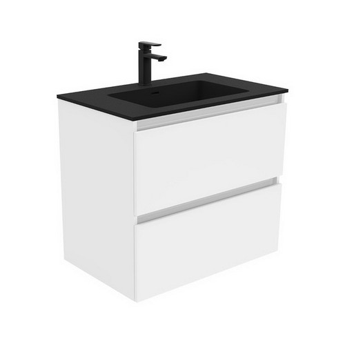 Montana 750 Solid Surface Moulded Basin-Top + Quest Gloss White Cabinet Wall-Hung 2 Drawer 1 Tap Hole [196430]