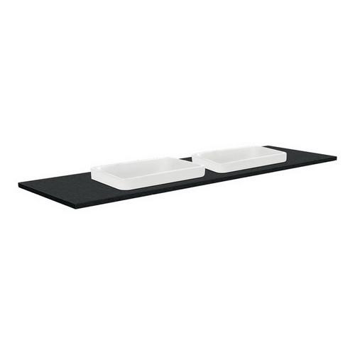 Sarah Black Sparkle 1500 Semi-inset Basin-Top, Double Bowl + Fingerpull Gloss White Cabinet Wall-Hung 3 Tap Hole [196946]