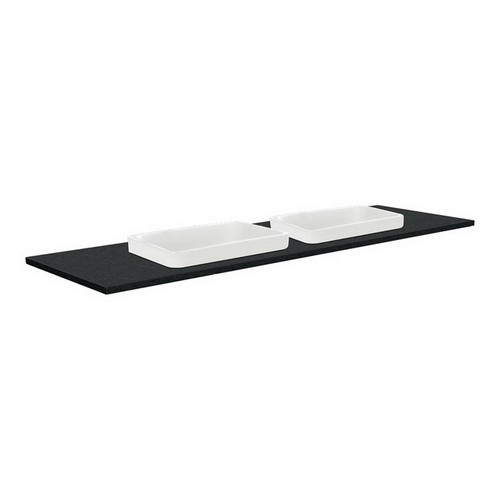 Sarah Black Sparkle 1500 Semi-inset Basin-Top, Double Bowl + Unicab Gloss White Cabinet Wall-Hung 3 Tap Hole [196952]