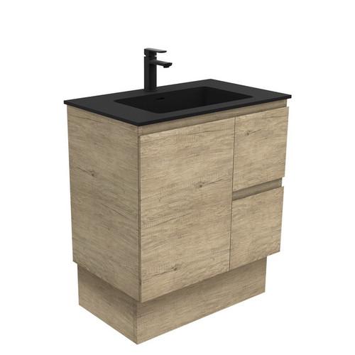 Montana 750 Solid Surface Moulded Basin-Top + Edge Scandi Oak Cabinet on Kick Board 1 Door 2 Left Drawer 3 Tap Hole [196435]