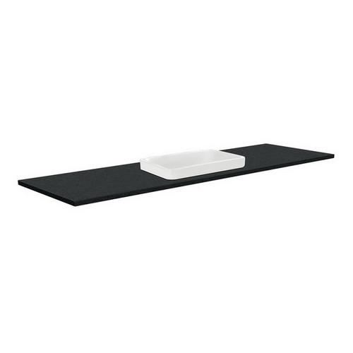 Sarah Black Sparkle 1500 Semi-inset Basin-Top, Single Bowl + Fingerpull Satin Black Cabinet Wall-Hung 3 Tap Hole [196997]