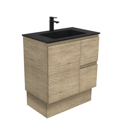 Montana 750 Solid Surface Moulded Basin-Top + Edge Scandi Oak Cabinet on Kick Board 1 Door 2 Right Drawer 1 Tap Hole [196436]