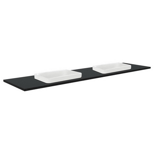 Sarah Black Sparkle 1800 Semi-inset Basin-Top, Double Bowl + Unicab Gloss White Extra Wide Cabinet Wall-Hung 3 Tap Hole [197012]
