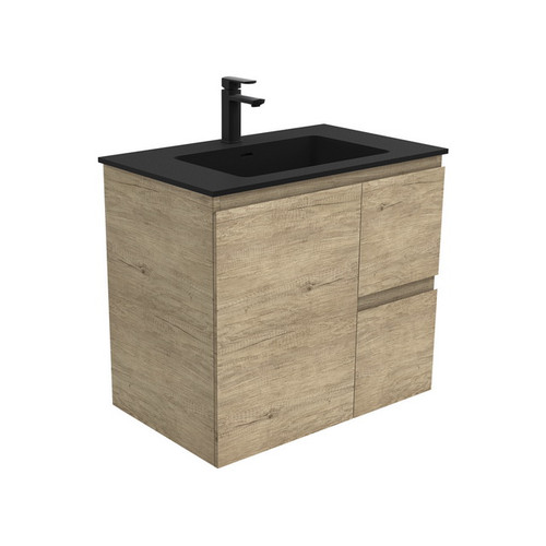 Montana 750 Solid Surface Moulded Basin-Top + Edge Scandi Oak Cabinet Wall-Hung 1 Door 2 Left Drawer 3 Tap Hole [196439]
