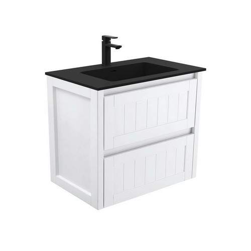 Montana 750 Solid Surface Moulded Basin-Top + Hampton Satin White Cabinet Wall-Hung 2 Drawer 1 Tap Hole [196442]