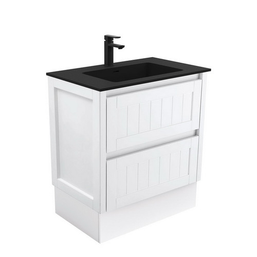 Montana 750 Solid Surface Moulded Basin-Top + Hampton Satin White Cabinet on Kick Board 2 Drawer 1 Tap Hole [196444]