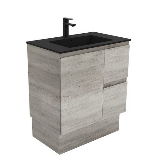 Montana 750 Solid Surface Moulded Basin-Top + Edge Industrial Cabinet on Kick Board 1 Door 2 Right Drawer 3 Tap Hole [196447]
