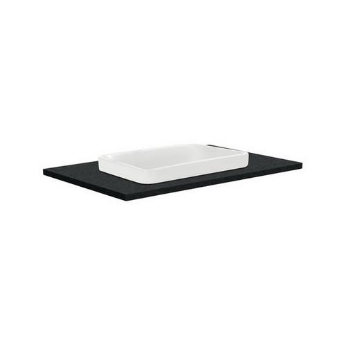 Sarah Black Sparkle 750 Semi-inset Basin-Top + Fingerpull Satin White Cabinet on Kick Board 1 Door 2 Left Drawer 3 Tap Hole [197114]