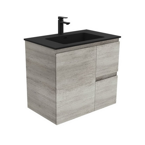 Montana 750 Solid Surface Moulded Basin-Top + Edge Industrial Cabinet Wall-Hung 1 Door 2 Left Drawer 3 Tap Hole [196448]