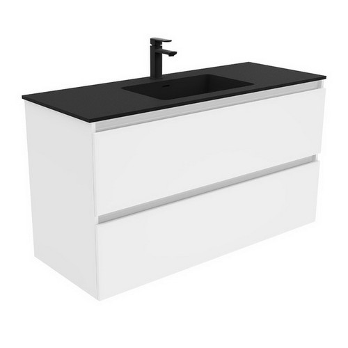 Montana 1200 Solid Surface Moulded Basin-Top + Quest Gloss White Cabinet Wall-Hung 2 Drawer 3 Tap Hole [196381]