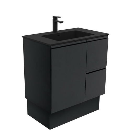 Montana 750 Solid Surface Moulded Basin-Top + Fingerpull Satin Black Cabinet on Kick Board 1 Door 2 Right Drawer 1 Tap Hole [196452]