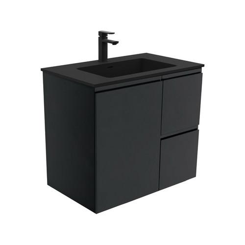 Montana 750 Solid Surface Moulded Basin-Top + Fingerpull Satin Black Cabinet Wall-Hung 1 Door 2 Left Drawer 1 Tap Hole [196454]