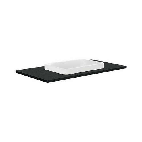 Sarah Black Sparkle 900 Semi-inset Basin-Top + Hampton Satin White Cabinet Wall-Hung 3 Tap Hole [197186]