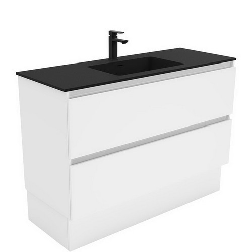 Montana 1200 Solid Surface Moulded Basin-Top + Quest Gloss White Cabinet on Kick Board 2 Drawer 1 Tap Hole [196382]