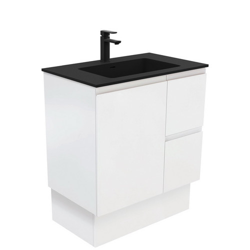 Montana 750 Solid Surface Moulded Basin-Top + Fingerpull Satin White Cabinet on Kick Board 1 Door 2 Left Drawer 3 Tap Hole [196459]