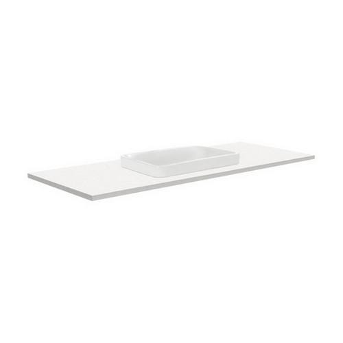 Sarah Crystal Pure 1200 Semi-inset Basin-Top + Fingerpull Satin White Cabinet Wall-Hung 3 Tap Hole [197274]