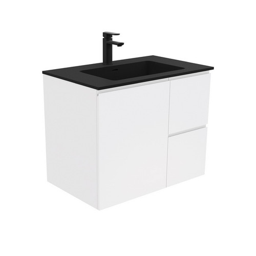 Montana 750 Solid Surface Moulded Basin-Top + Fingerpull Satin White Cabinet Wall-Hung 1 Door 2 Right Drawer 1 Tap Hole [196464]