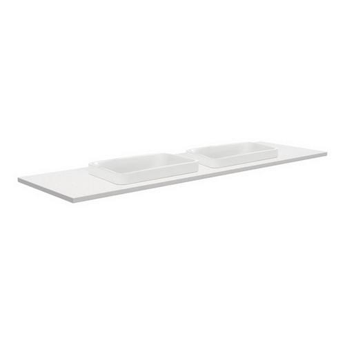 Sarah Crystal Pure 1500 Semi-inset Basin-Top, Double Bowl + Fingerpull Gloss White Cabinet on Kick Board 3 Tap Hole [197286]