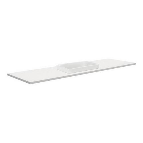 Sarah Crystal Pure 1500 Semi-inset Basin-Top, Single Bowl + Unicab Gloss White Cabinet Wall-Hung No Tap Hole [197300]