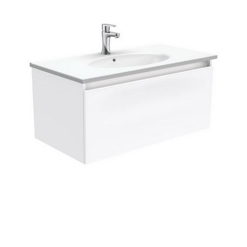 Rotondo 900 Ceramic Moulded Basin-Top + Manu Gloss White Cabinet Wall-Hung 4 Internal Drawer 3 Tap Hole [197314]