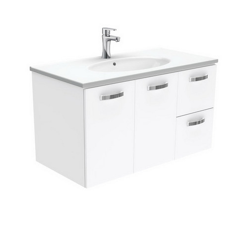 Rotondo 900 Ceramic Moulded Basin-Top + Unicab Gloss White Cabinet Wall-Hung 2 Door 2 Left Drawer 1 Tap Hole [197315]