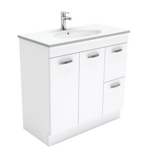 Rotondo 900 Ceramic Moulded Basin-Top + Unicab Gloss White Cabinet on Kick Board 2 Door 2 Right Drawer 3 Tap Hole [197322]