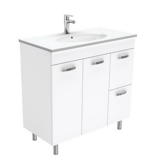 Rotondo 900 Ceramic Moulded Basin-Top + Unicab Gloss White Cabinet on Legs 2 Door 2 Left Drawer 3 Tap Hole [197324]