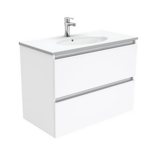 Rotondo 900 Ceramic Moulded Basin-Top + Quest Gloss White Cabinet Wall-Hung 2 Drawer 3 Tap Hole [197330]