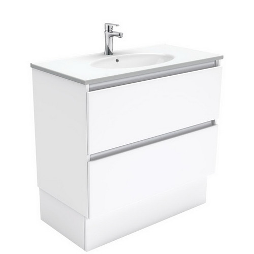 Rotondo 900 Ceramic Moulded Basin-Top + Quest Gloss White Cabinet on Kick Board 2 Drawer 3 Tap Hole [197332]