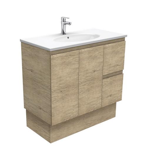 Rotondo 900 Ceramic Moulded Basin-Top + Edge Scandi Oak Cabinet on Kick Board 2 Door 2 Left Drawer 3 Tap Hole [197334]