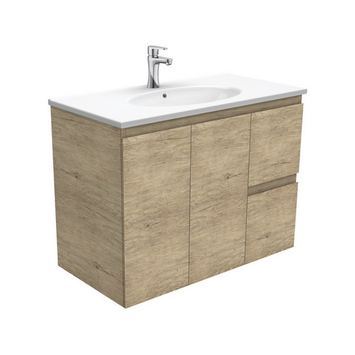 Rotondo 900 Ceramic Moulded Basin-Top + Edge Scandi Oak Cabinet Wall-Hung 2 Door 2 Left Drawer 3 Tap Hole [197338]