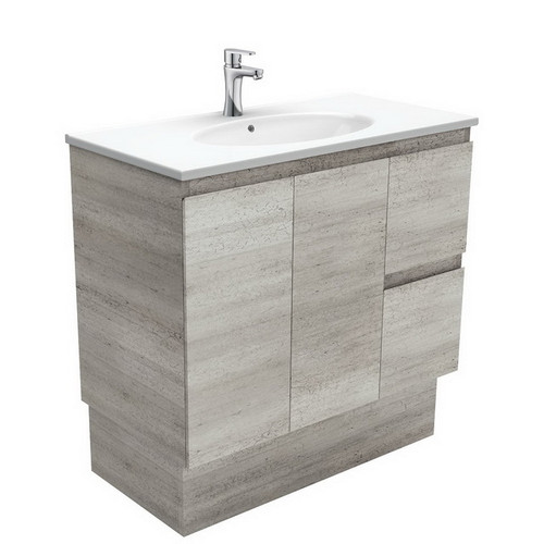 Rotondo 900 Ceramic Moulded Basin-Top + Edge Industrial Cabinet on Kick Board 2 Door 2 Right Drawer 3 Tap Hole [197344]