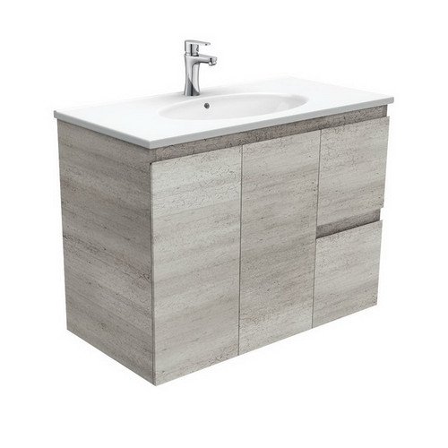 Rotondo 900 Ceramic Moulded Basin-Top + Edge Industrial Cabinet Wall-Hung 2 Door 2 Right Drawer 3 Tap Hole [197348]