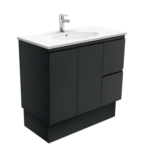 Rotondo 900 Ceramic Moulded Basin-Top + Fingerpull Satin Black Cabinet on Kick Board 2 Door 2 Left Drawer 1 Tap Hole [197349]