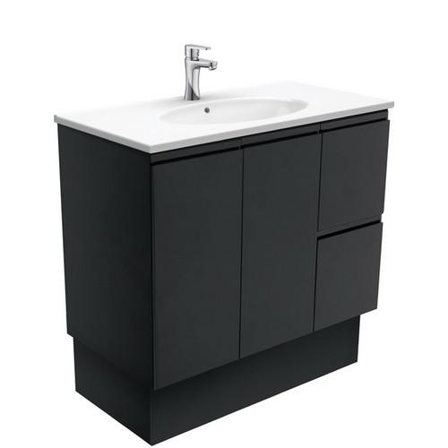 Rotondo 900 Ceramic Moulded Basin-Top + Fingerpull Satin Black Cabinet on Kick Board 2 Door 2 Right Drawer 3 Tap Hole [197352]