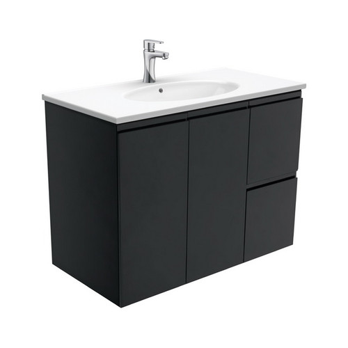 Rotondo 900 Ceramic Moulded Basin-Top + Fingerpull Satin Black Cabinet Wall-Hung 2 Door 2 Left Drawer 3 Tap Hole [197354]