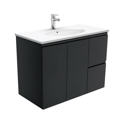 Rotondo 900 Ceramic Moulded Basin-Top + Fingerpull Satin Black Cabinet Wall-Hung 2 Door 2 Right Drawer 3 Tap Hole [197356]