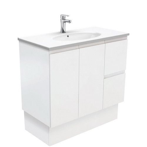 Rotondo 900 Ceramic Moulded Basin-Top + Fingerpull Satin White Cabinet on Kick Board 2 Door 2 Left Drawer 3 Tap Hole [197358]