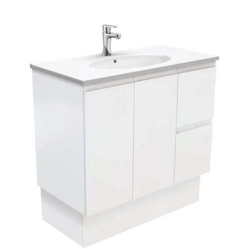 Rotondo 900 Ceramic Moulded Basin-Top + Fingerpull Satin White Cabinet on Kick Board 2 Door 2 Right Drawer 1 Tap Hole [197359]