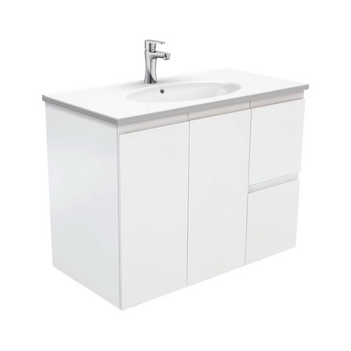 Rotondo 900 Ceramic Moulded Basin-Top + Fingerpull Satin White Cabinet Wall-Hung 2 Door 2 Right Drawer 3 Tap Hole [197364]