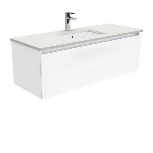Sarah Roman Sand Undermount 1200 Manu Gloss White Vanity Wall-Hung 4 Internal Drawer 1 Tap Hole [197374]