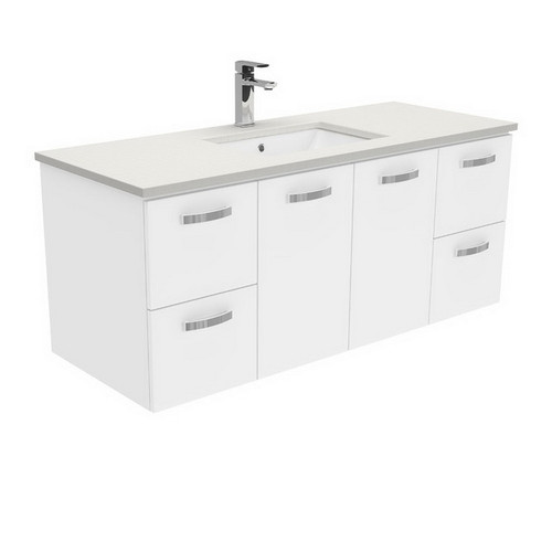 Sarah Roman Sand Undermount 1200 Unicab Gloss White Vanity Wall-Hung with Handle 3 Tap Hole [197379]