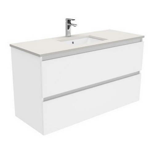 Sarah Roman Sand Undermount 1200 Quest Gloss White Vanity Wall-Hung 2 Drawer No Tap Hole [197390]