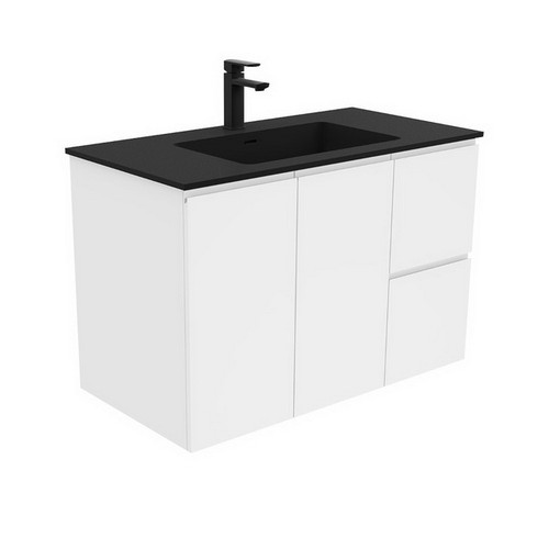 Montana 900 Solid Surface Moulded Basin-Top + Fingerpull Gloss White Cabinet Wall-Hung 2 Door 2 Right Drawer 3 Tap Hole [196477]